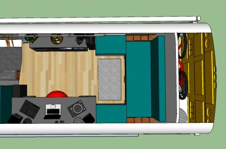 Overhead View: studio, storage/kitchen, and seating for 4.