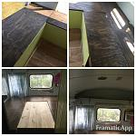 We added seating with storage underneath  We cut a table to fit  so seating makes into a bed  We also made foxy our dog a vinnie to hide in.  The air...