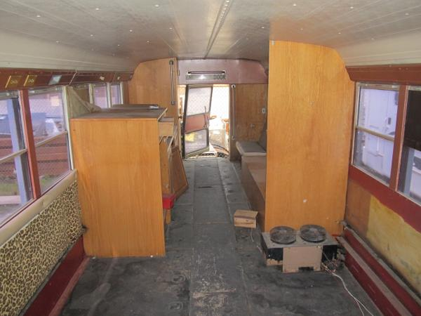 View of camper cabin from front.