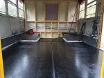 "Rustoleum bed liner down for the ""garage"" area."