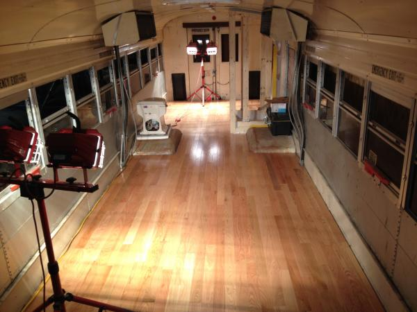 """Oak floor is finally in. I stripped out the bus, recoated the steel, installed 1"""" foam, installed 3/4"""" plywood, then 3/4"""" oak. 32""""x32"""" shower going in too."""