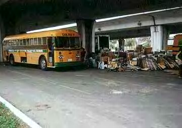 Cool Bus IV in San Antonio loading donations for Mexico