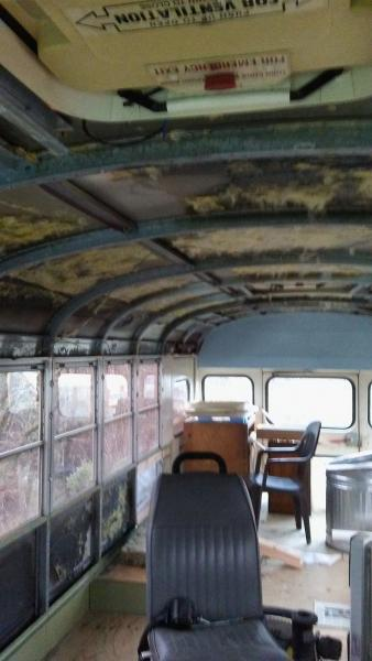 January 2018 - Ceiling removed. Not too bad, about 6-8 hours work.  Bus very cold now so hoping to redo it soon.  Would have saved metal ceiling if it was solid, but it was full of holes I guess to save weight.