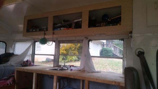 Kitchen cabinets unfinished until I can install electric wiring.