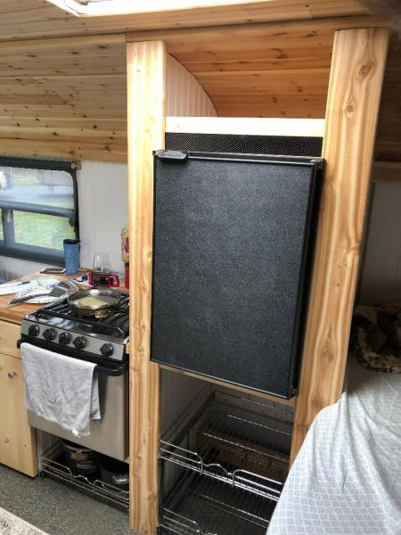New fridge after shot with Revashelf storage below