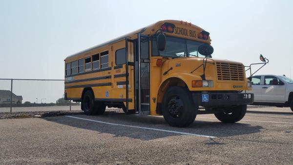 CatawamBus when we picked her up from Aurora schools in Colorado