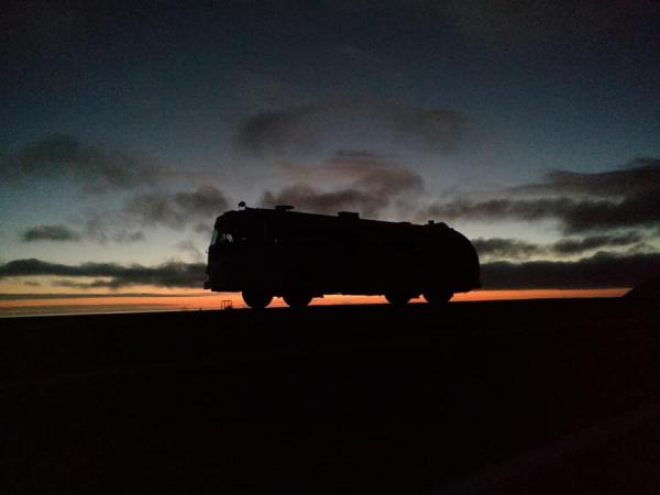 Sunset on our first night camping in the Flxible 9.15.18 HWY 1 Mendocino County. South edge of the Lost Coast