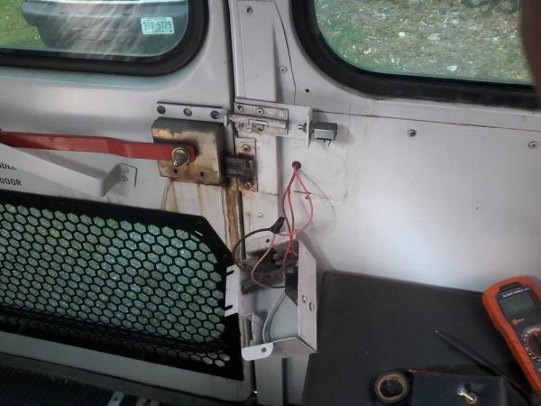 Rear door dead bolt and wiring.