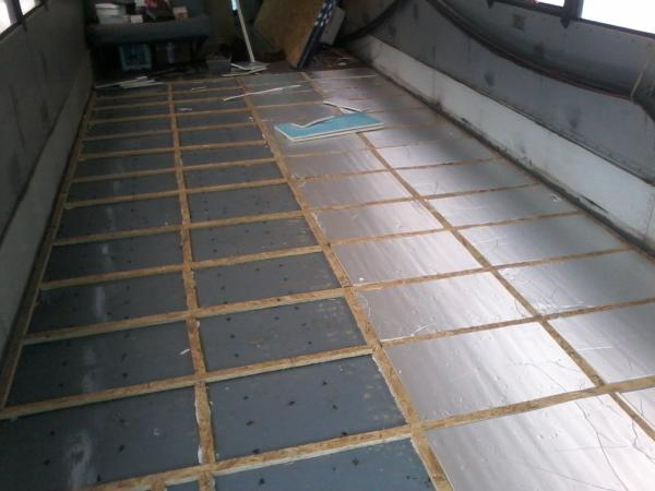Furring strips and insulation in place.