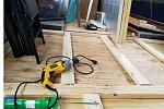 This is after we have added another layer of plywood above the original plywood and installed the floor joists.