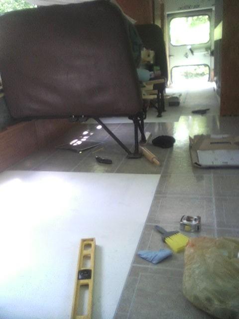 Tile Installation proceeding
