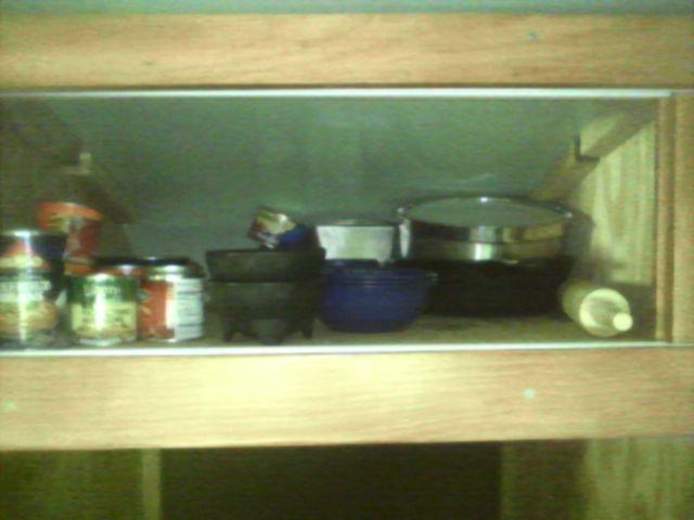 Empty upper shelf