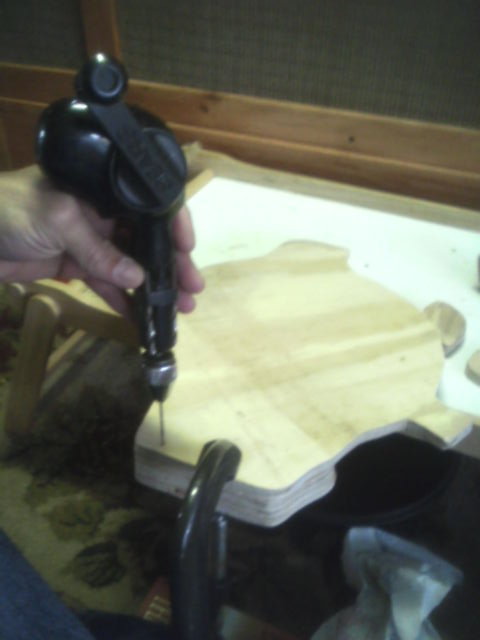 Clamp and drill from the back of the backing plate