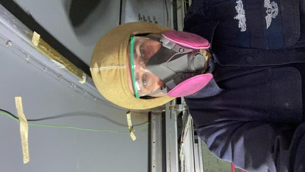 PPE for wire brush on the deck