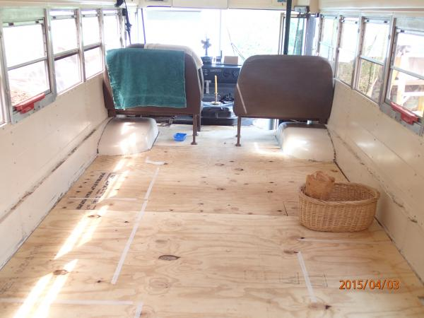 new subfloor. reinstalled two seats for practice driving but may not need them.