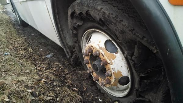 The starboard-fore tire kicked it on day 2 on an on-ramp after a toll
