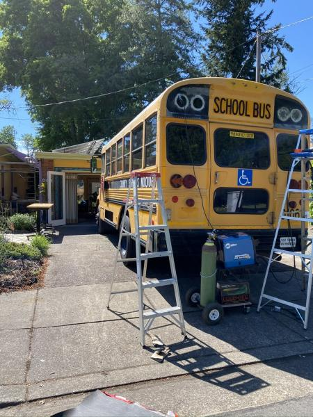 It was a beautiful sunny day in Oregon today! Love it when I can run my welder off of my solar panels. Starting to knock the prep list off little by little. Making sure the bus is watertight and sealed well. Got all the roof holes filled with fiberglass tape and putty. I think we're down to leaky windows after this.