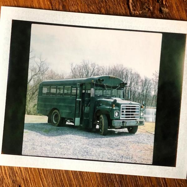 Old school Polaroid shot when we first bought the bus, March 2020