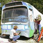 The Lills (@thelillslife) Vintage 1961 GM New Look / Fishbowl Bus Conversion - Paint Removal / Sandblasting
