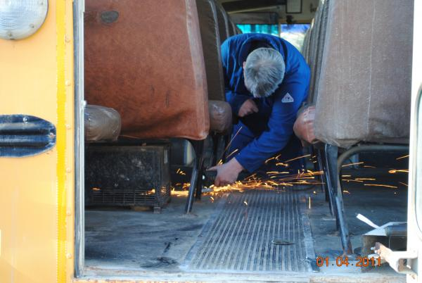 22 seats to remove, better to cut the bolt heads off with angle head grinder versus fighting the corroded bolts from gravel road use.