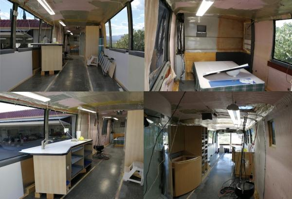 Four photos of our bus before conversion