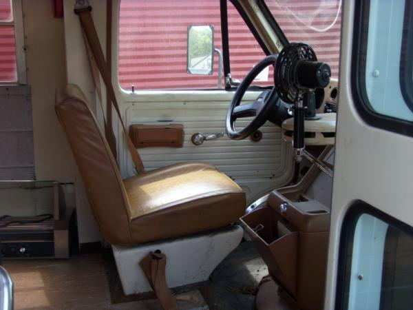 Original bus interior at purchase