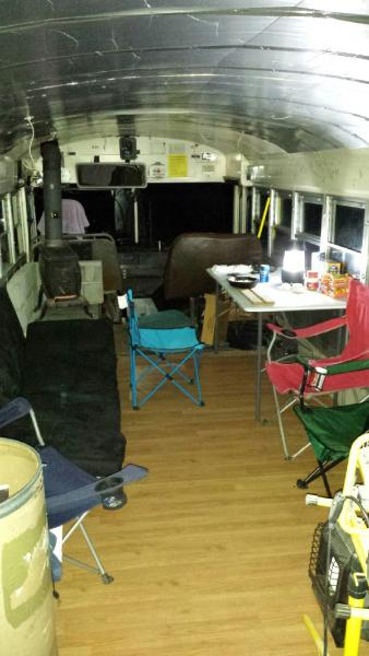 Our current set up of the interior until more permanent furniture can be put in
