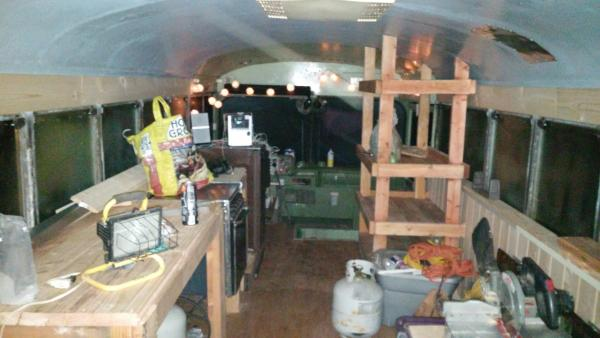 Kitchen and food pantry at front of bus