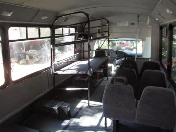 Inside the bus pre-conversion.