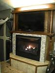 "Procom FBD28T LP Firebox insert in 1926 Craftsman Oak Mantle. Mosaic Marble surround. Trafficmaster Ceramica ""Exodus"". Philips flat screen 32""..."