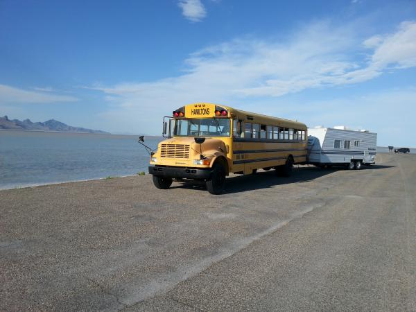 The following year we totaled our camper in Wyoming.  When we got back I drove the bus to go get the camper and bring it home to use it to convert the bus.  I stopped at the Bonneville salt flats on my way back with the camper.