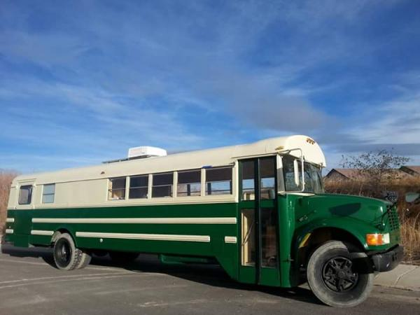 We painted the bus! International green and Almond.