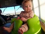 Here is the newest member of the family just chillin in her bumbo on the table somewhere in Arizona.
