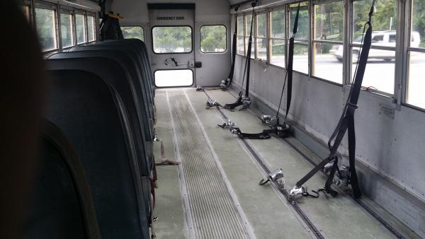 It was used as a handicap bus so there weren't a lot of seats that needed to be removed.