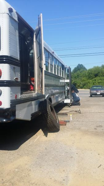 Put six new tires on the bus.