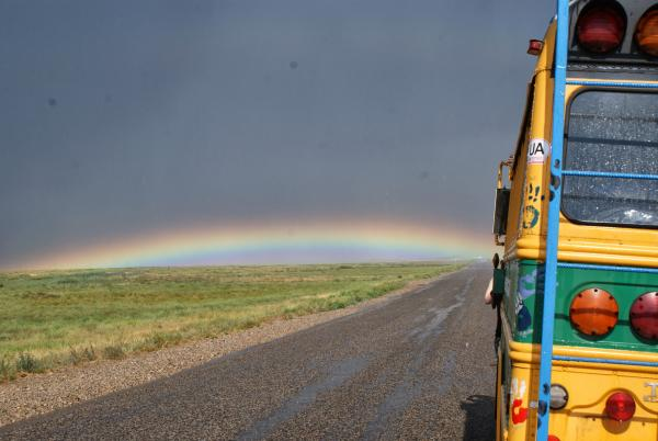 Ground rainbow just over western border from Russia into Kazakhstan.