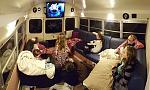 The kids enjoying their first movie night in the back living room.