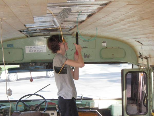Seth helping with the ceiling took almost 900 rivets