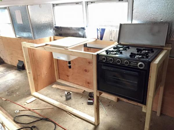 the stove and where the kitchen sink is going