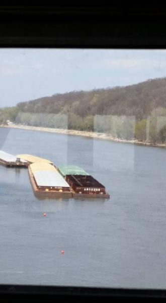 Barges in the Illinois River Near Peoria