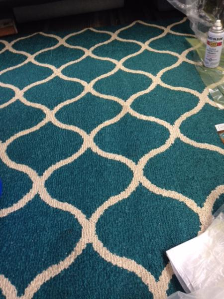 For now we're covering the floor with a large rug from Walmart. It looks much better than the black rusted out floor underneath.