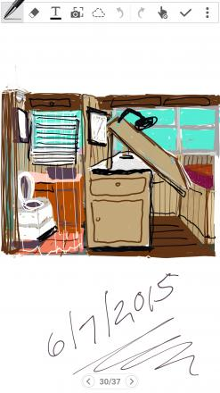 Original sketch of the bath and art studio/dining room area...