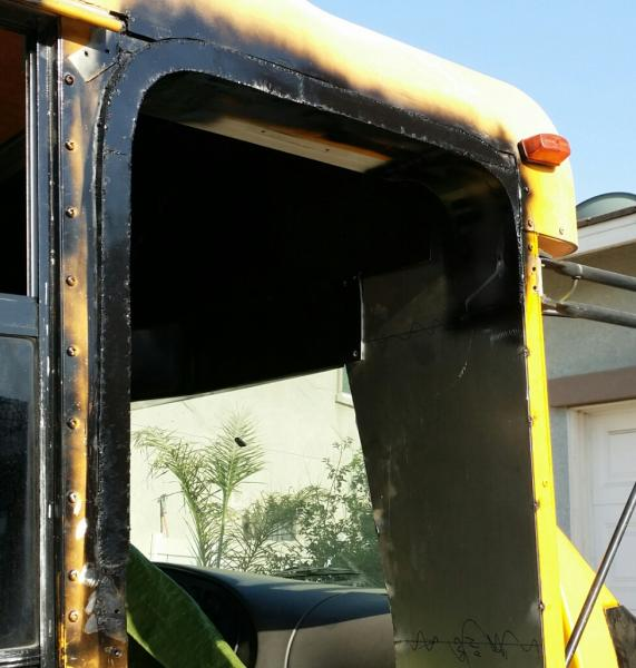 """After a full day of laying out, cutting & welding with my dad we can now cut & fit the actual door & frame. We had to build the left side of the bus out 1/2 """" to have a nice square door opening."""